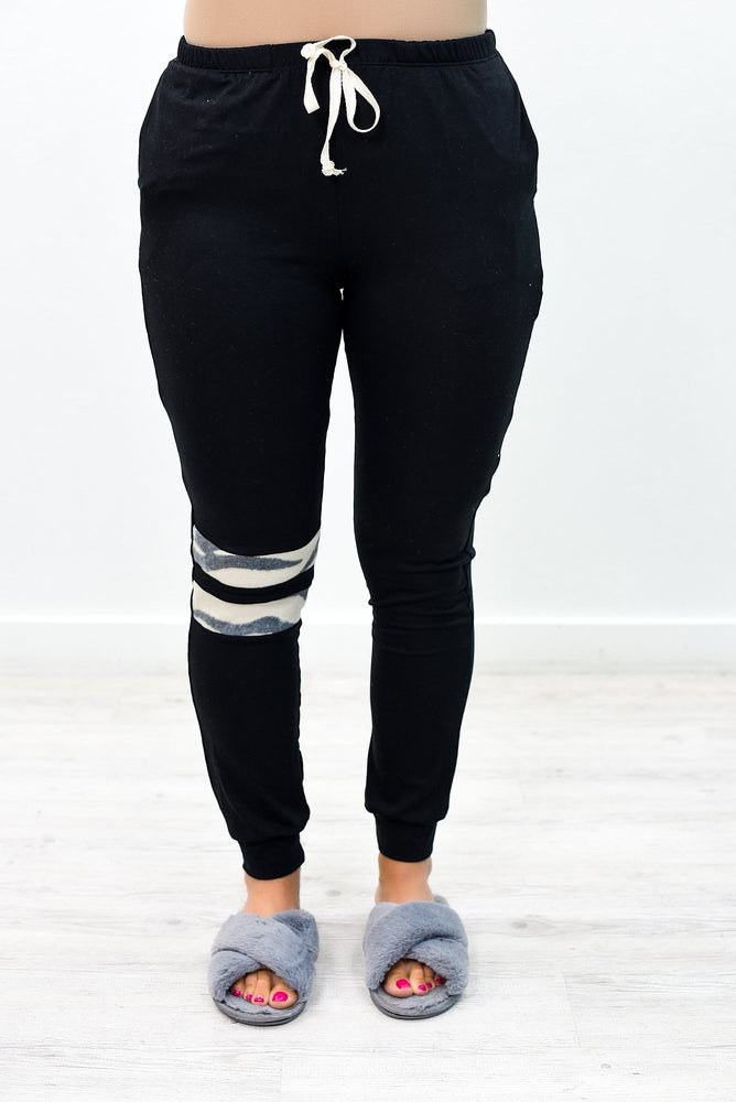 Committed To Chill Black/Ivory Tiger Striped Joggers - PNT1146BK