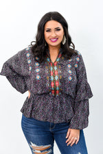Meet Me For Brunch Black/Multi Color Embroidered Printed Top - B9285BK