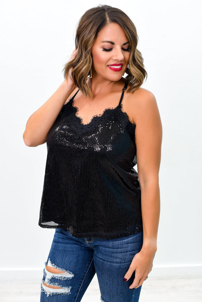I'll Steal Your Heart Black Sequins/Lace V Neck Top - B9288BK