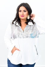 Shine All Day Ivory Sequins Sweater Top - B9292IV