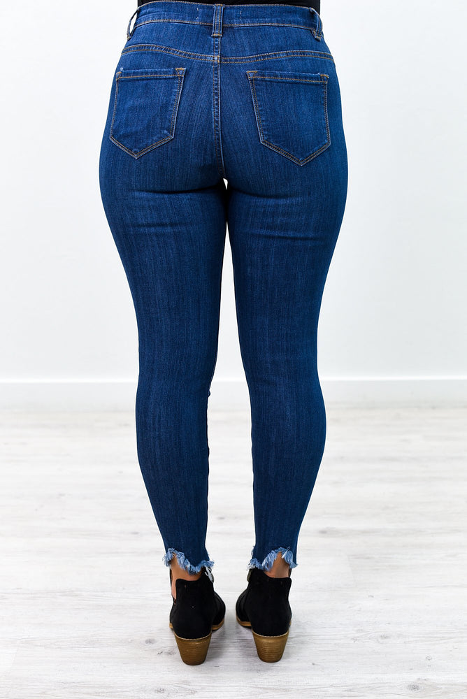 She's Got A Mind Of Her Own Medium Denim Distressed Jeans - K488DN