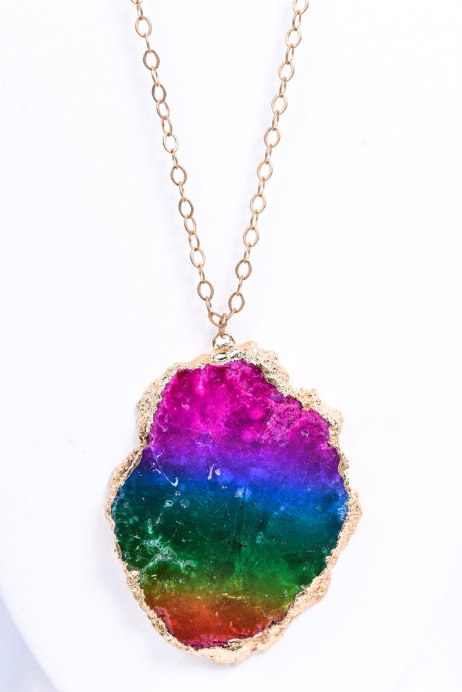 Multi Color Rainbow Slab Pendant On Gold Chain Necklace - NEK3521MU