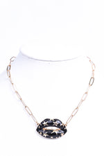 Black/Gold Stars On Gold Chain Necklace - NEK3522BK