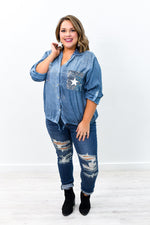 Can't Hide The Shine Vintage Blue Sequins/Star Printed Top - B9296VBL