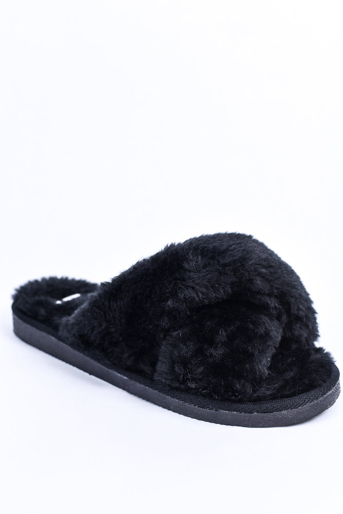 Fur-Ever With You Black Fuzzy Slip On Shoes - SHO1880BK