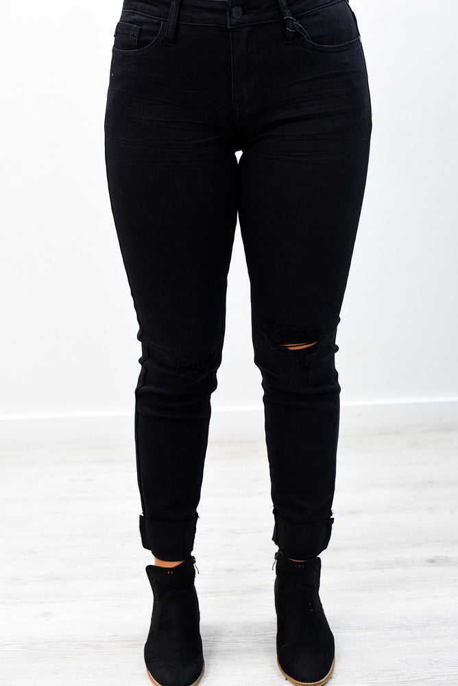 Take A Breather Black Denim Distressed Jeans - K490BK