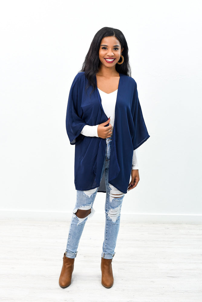 Better Things Ahead Navy Sheer Kimono - O2685NV