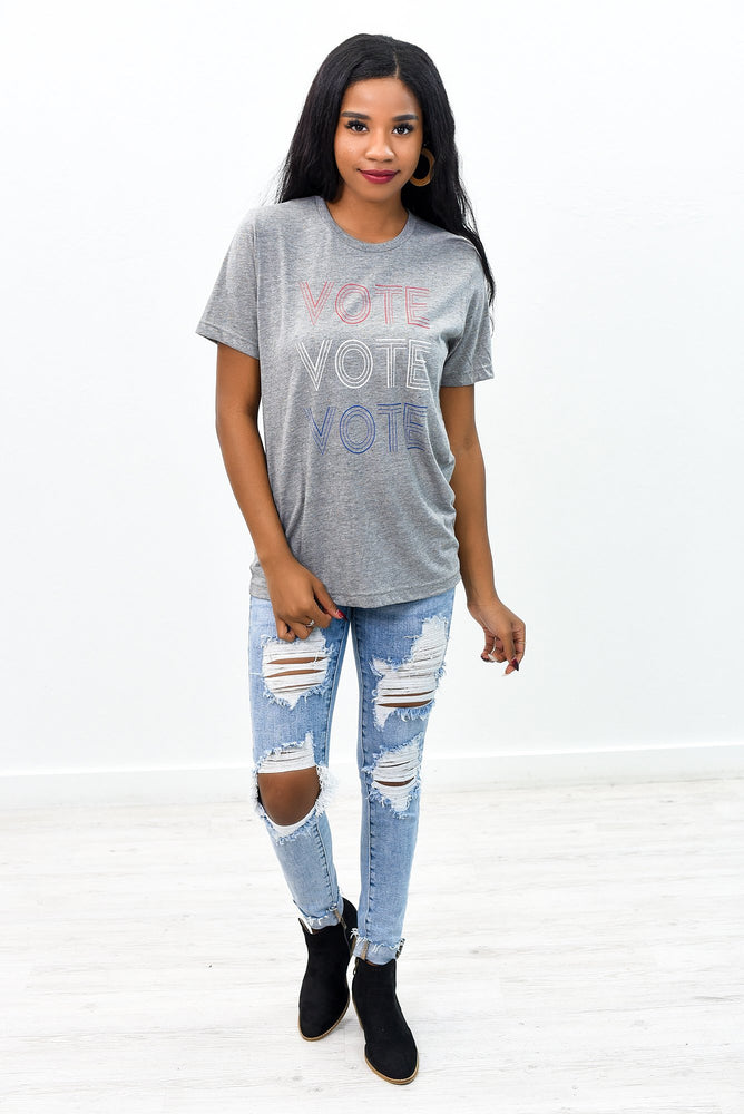 Vote Vote Vote Deep Heather Gray Speckled Graphic Tee - A828DHG