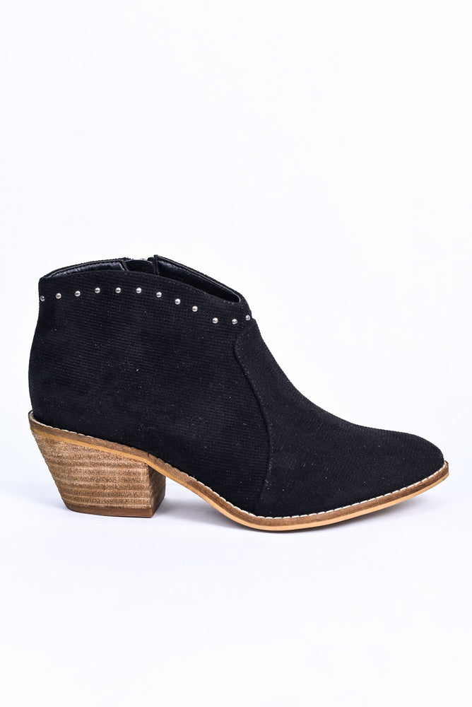 Perfect Connection Black Studded Booties - SHO1883BK