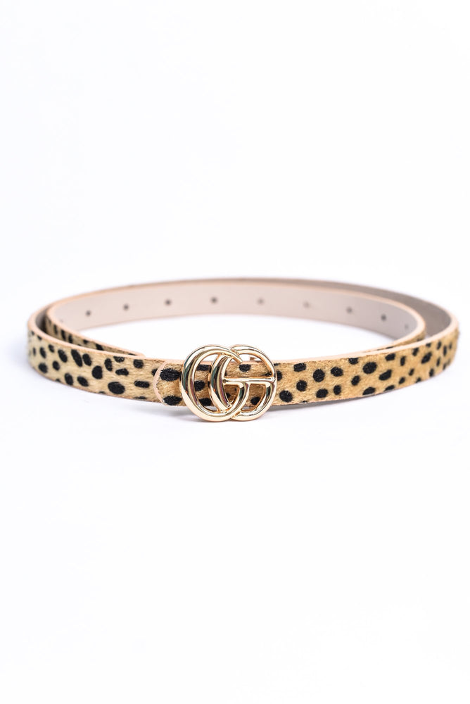 Beige/Gold Leopard Regular Belt - BLT1119BG