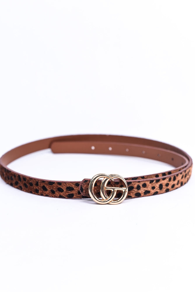 Cognac/Gold Leopard Regular Belt - BLT1120CGN