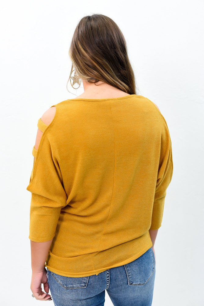 Pave Your Own Way Mustard Open Sleeves Top - B9396MS