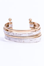 White/Gold Layered Cuff Bracelet - BRC2840WH