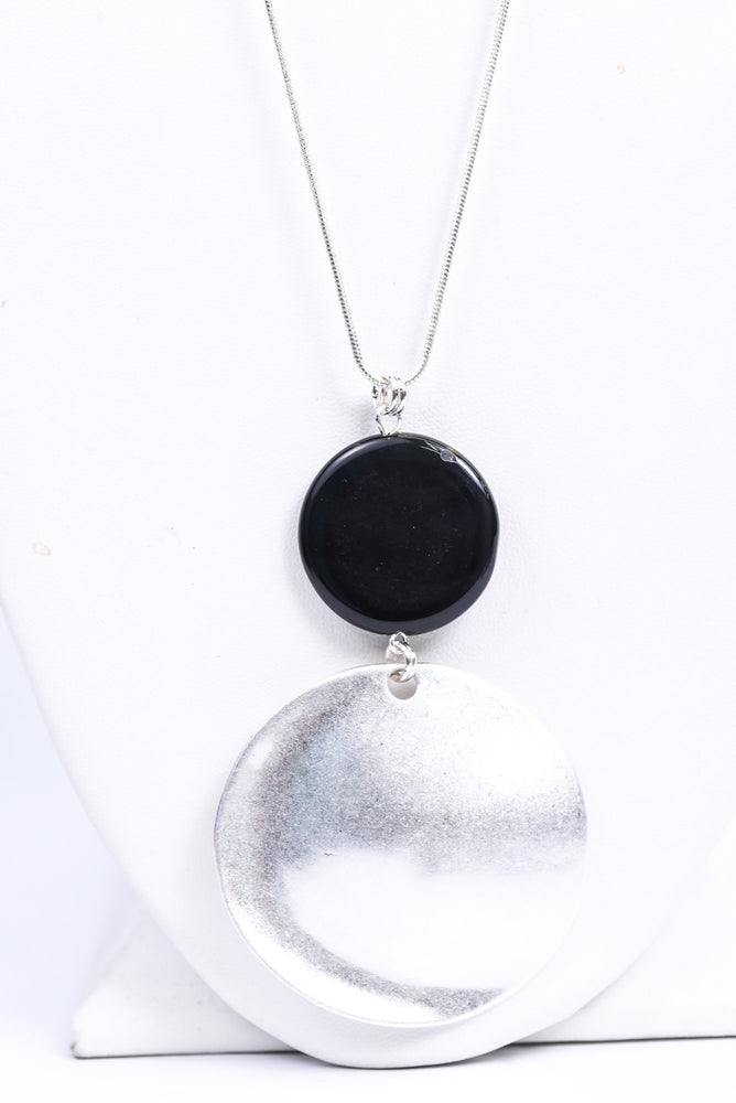 Silver/Black Stone/Metal Disk Pendant Necklace - NEK3534SI