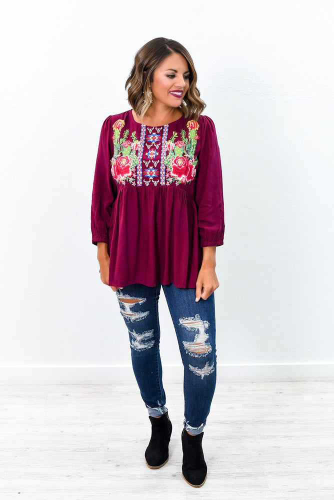 My Vision Is Clear Burgundy/Multi Color Embroidered High-Low Top - B9428BU