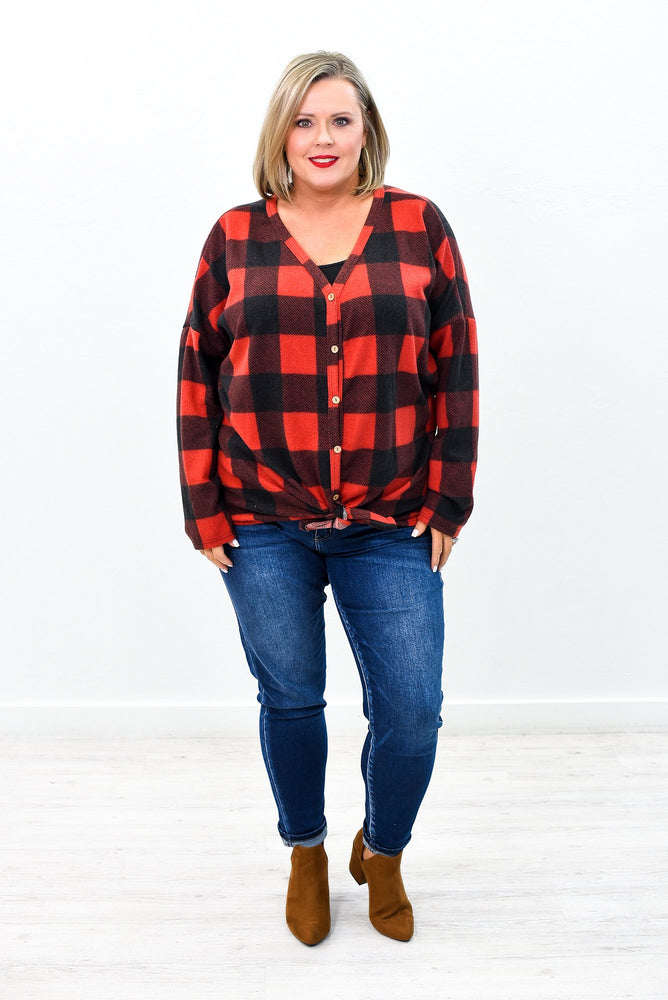 Checking It Out Red/Black Checkered Front Tie Top - B9440RD