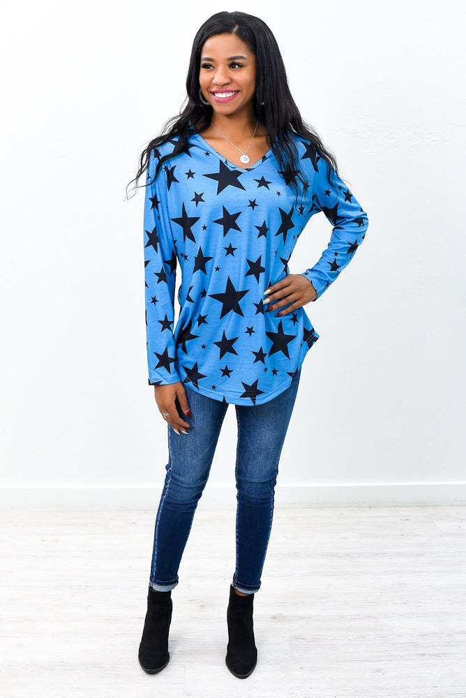 Make A Difference Blue/Black Star Printed V Neck Top - B9454BL