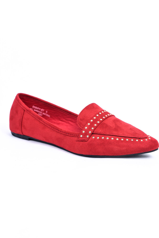 Prove Your Point Red Studded Slip On Shoes - SHO1887RD