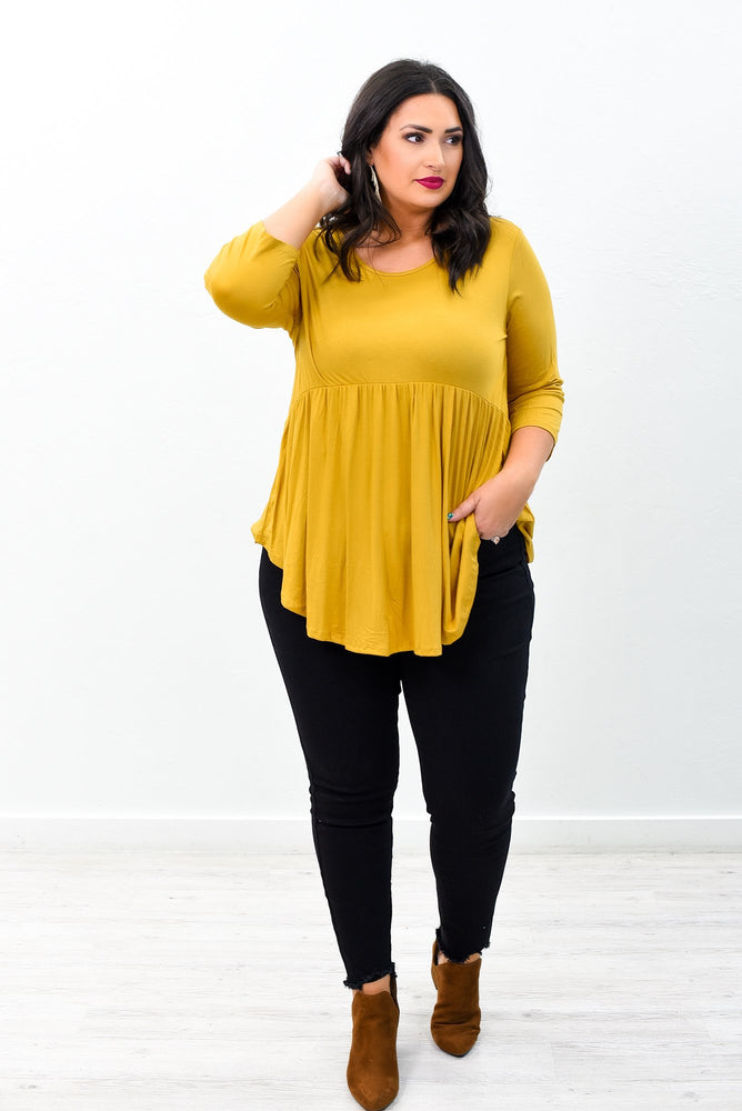 Baby It's A Classic Mustard Babydoll Solid Top - B9521MS
