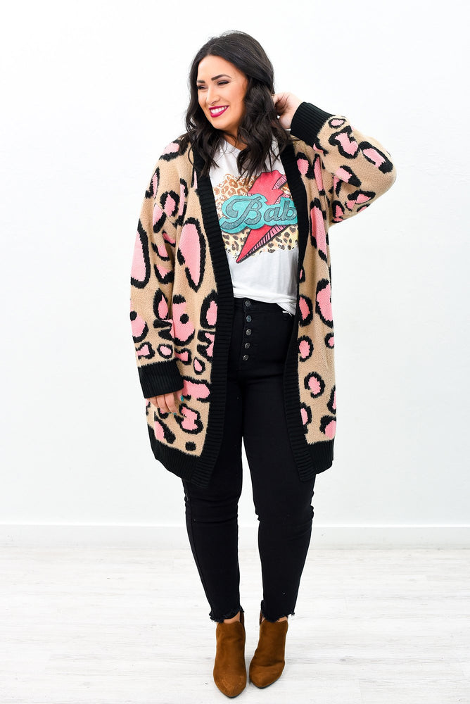 Brave the Storm Beige/Pink Leopard Long Cardigan - O2737BG