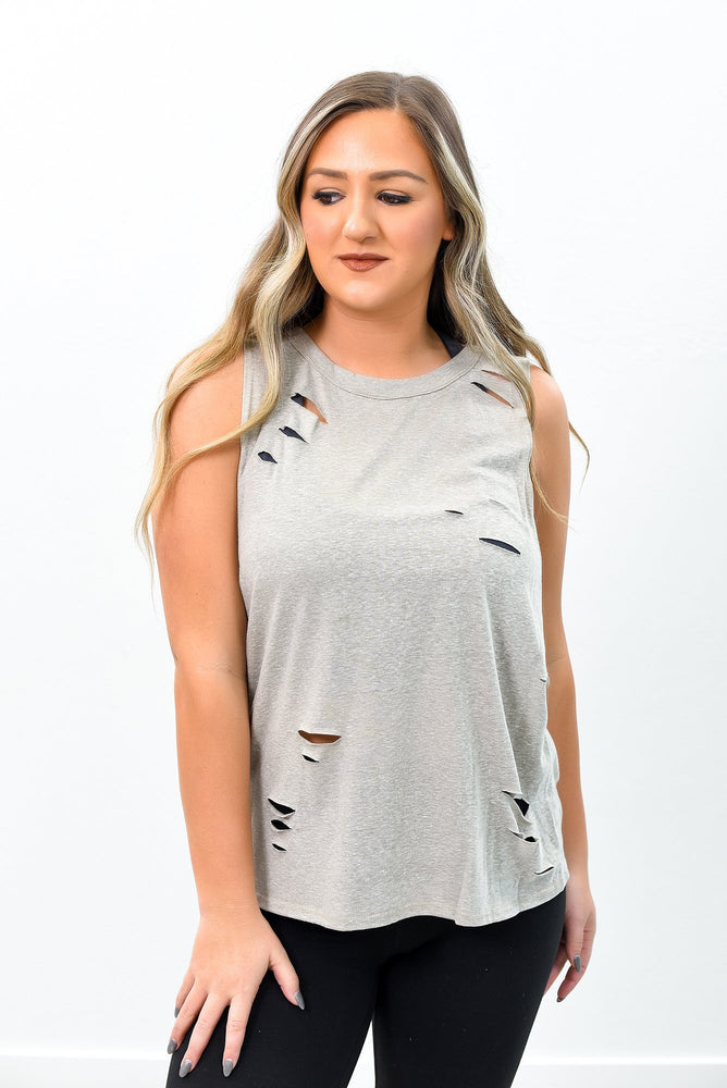 Going Out And About Heather Taupe Distressed High-Low Top - B9518HTA