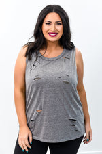 Going Out And About Gray Distressed High-Low Top - B9516GR