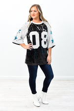 Love Is The Way Black/Ivory Sequins/Star Printed Top - B9514BK