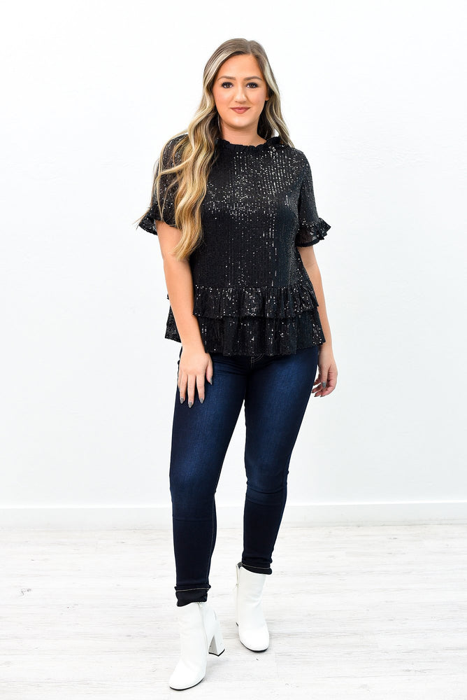 All That Shines Black Sequins Ruffle Top - B9525BK