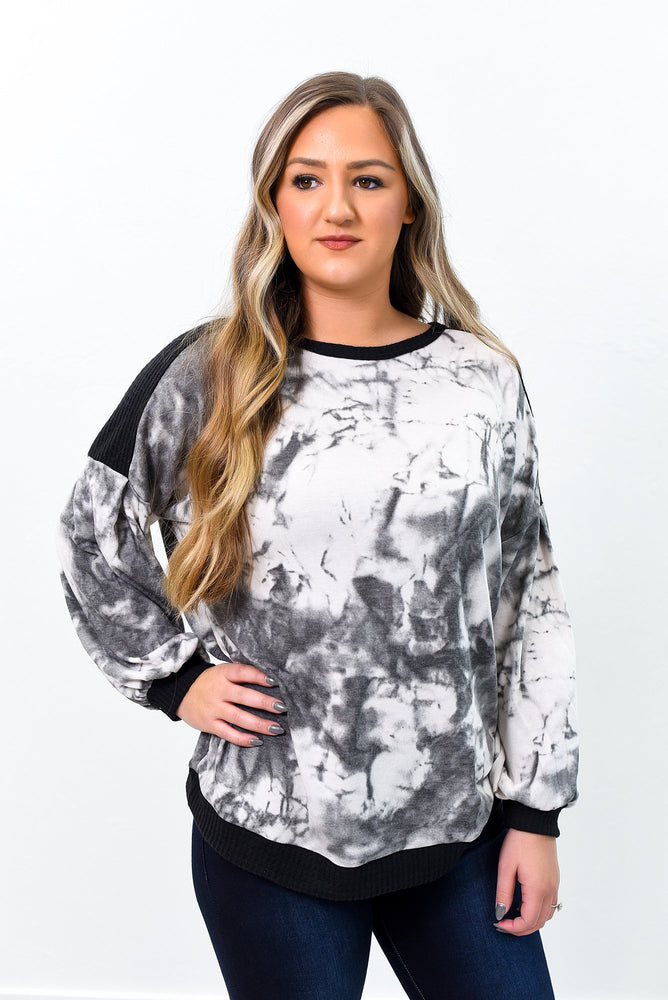 Lost In The Daze Charcoal Gray/Black Tie Dye Top - B9530CG