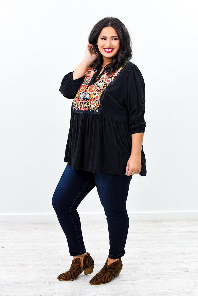 Long Walks Black/Multi Color Embroidered V Neck Top - B9524BK
