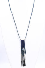 Blue/Green Tassel/Beaded Necklace - NEK3556BL
