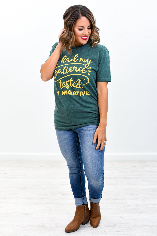 Patience Tested Heather Forest Green Graphic Tee - A859HFG