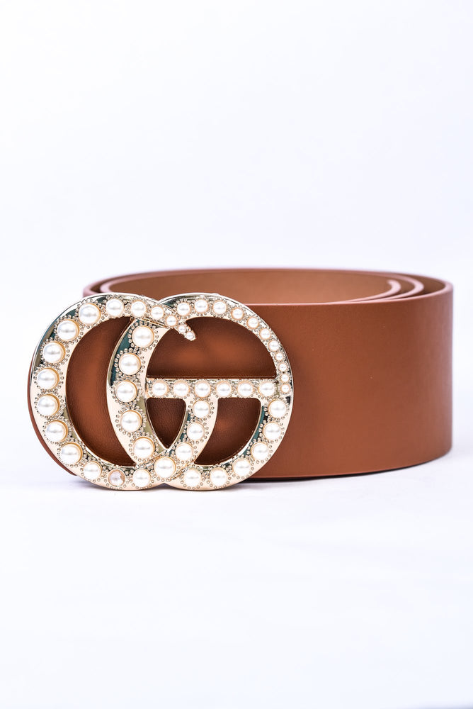 Cognac/Gold Pearl Regular Belt - BLT1125CGN