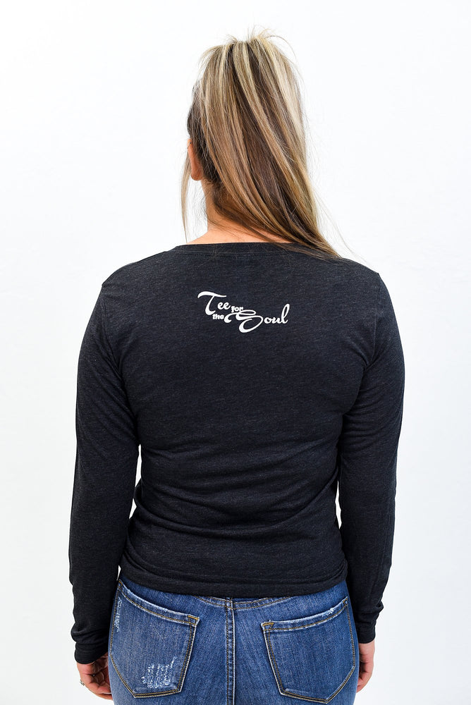 Mama Charcoal Black Triblend Long Sleeve Graphic Tee - A852BK