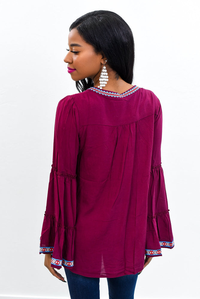 This Is My Dream Burgundy/Multi Color Embroidered V Neck Top - B9633BU