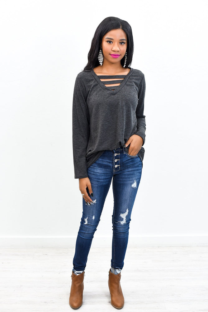 Simple Perfection Charcoal Gray Solid V Neck Top - B9644CG