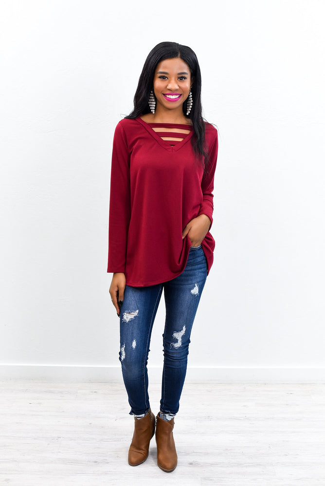 Simple Perfection Burgundy Solid V Neck Top - B9646BU