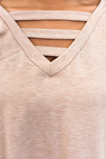 Simple Perfection Mocha Solid V Neck Top - B9641MO