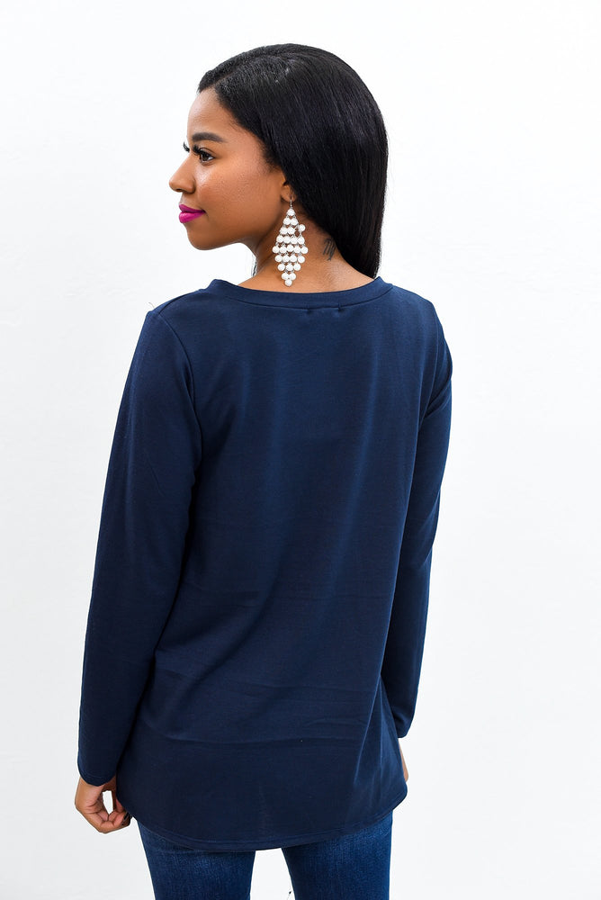 Simple Perfection Navy Solid V Neck Top - B9642NV