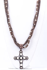 Copper/Ivory Cross Beaded Necklace - NEK3574CP