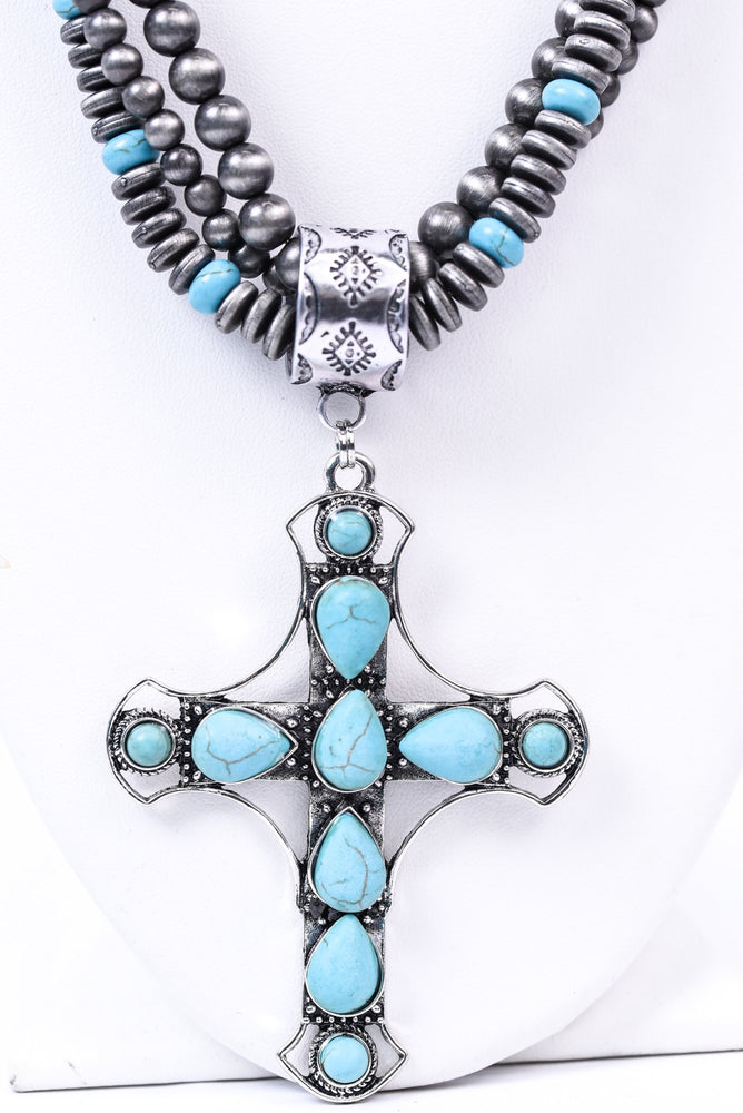 Silver/Turquoise Cross Beaded Necklaces - NEK3575SI