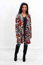She's Over The Top Mocha Floral/Leopard Cardigan - O2778MO