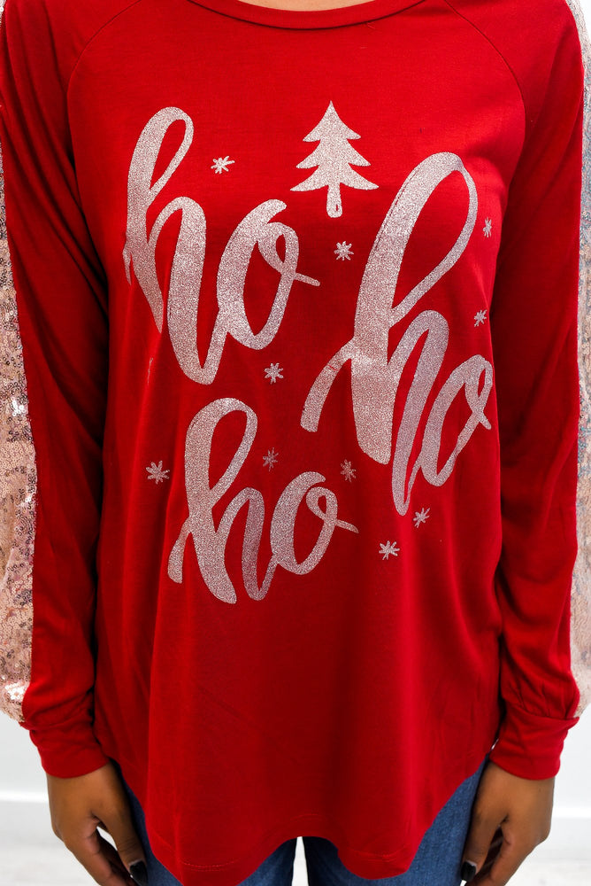 """Ho Ho Ho"" Dark Red/Rose Gold Sequin Top - B9699DRD"
