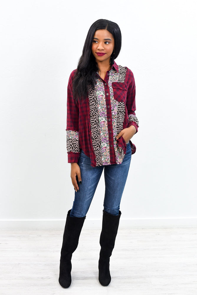 Full Of Trees And Changing Leaves Burgundy/Multi Color/Pattern High-Low Top - B9702BU