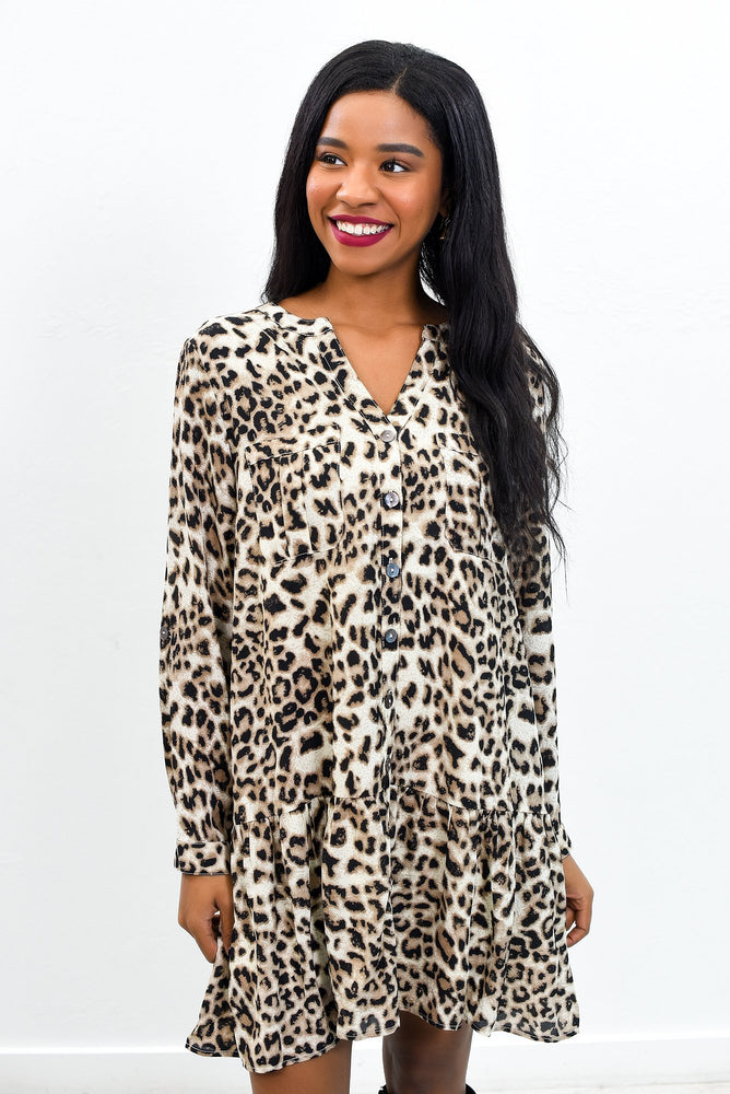 Rewrite The Past Taupe Leopard V Neck Dress - D3600TA