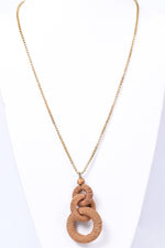 Gold Wrapped Linked Ring Necklace - NEK3584GO