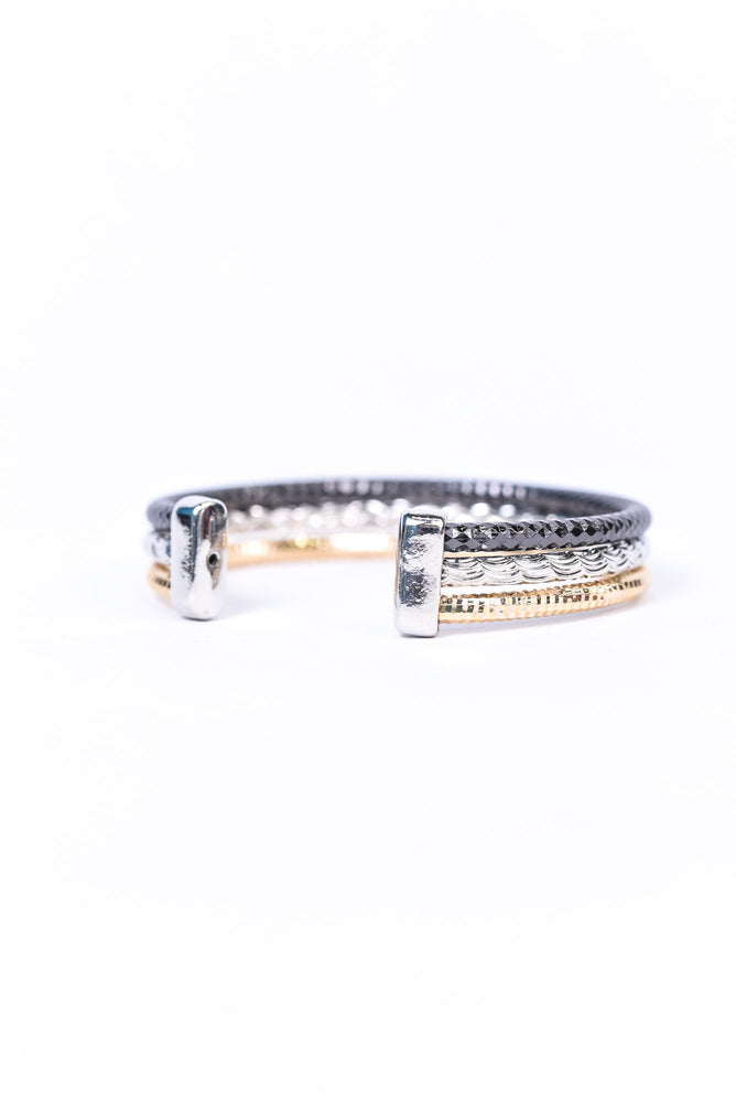Black/Silver/Gold Bangle Bracelet - BRC2862BK