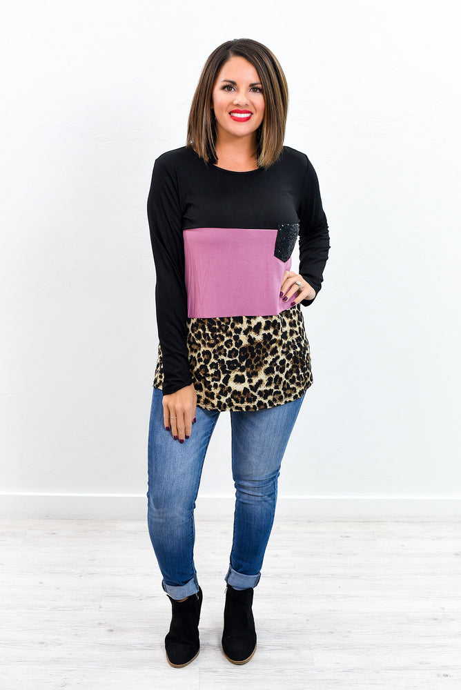 Saw You Standing There Mauve/Black/Leopard Colorblock Top - B9478MV