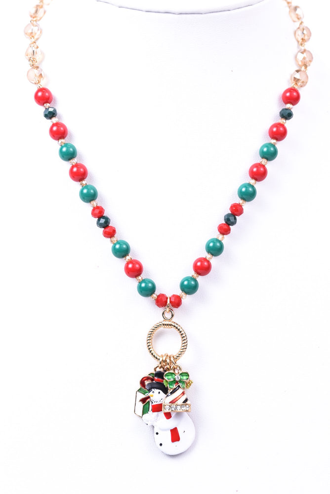 Red/Green/Gold Beaded/Crystal Snowman Charm Necklace - NEK3586RD