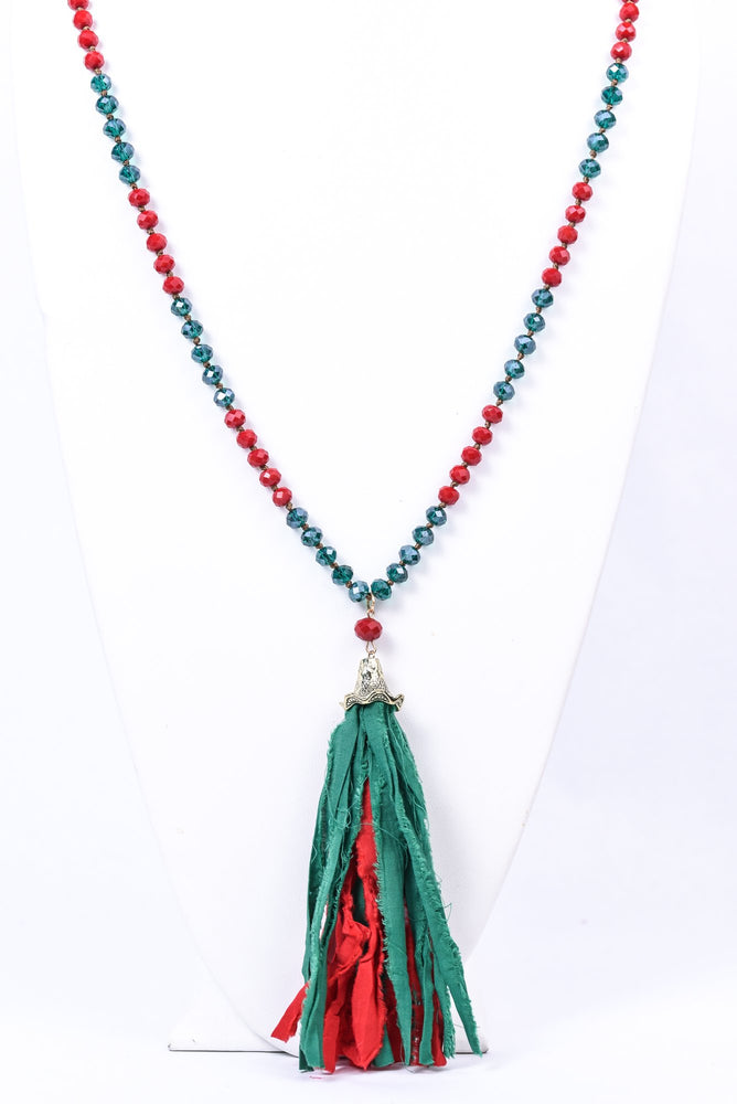 Red/Green Fabric Tassel Faceted Beaded Necklace - NEK3589RD